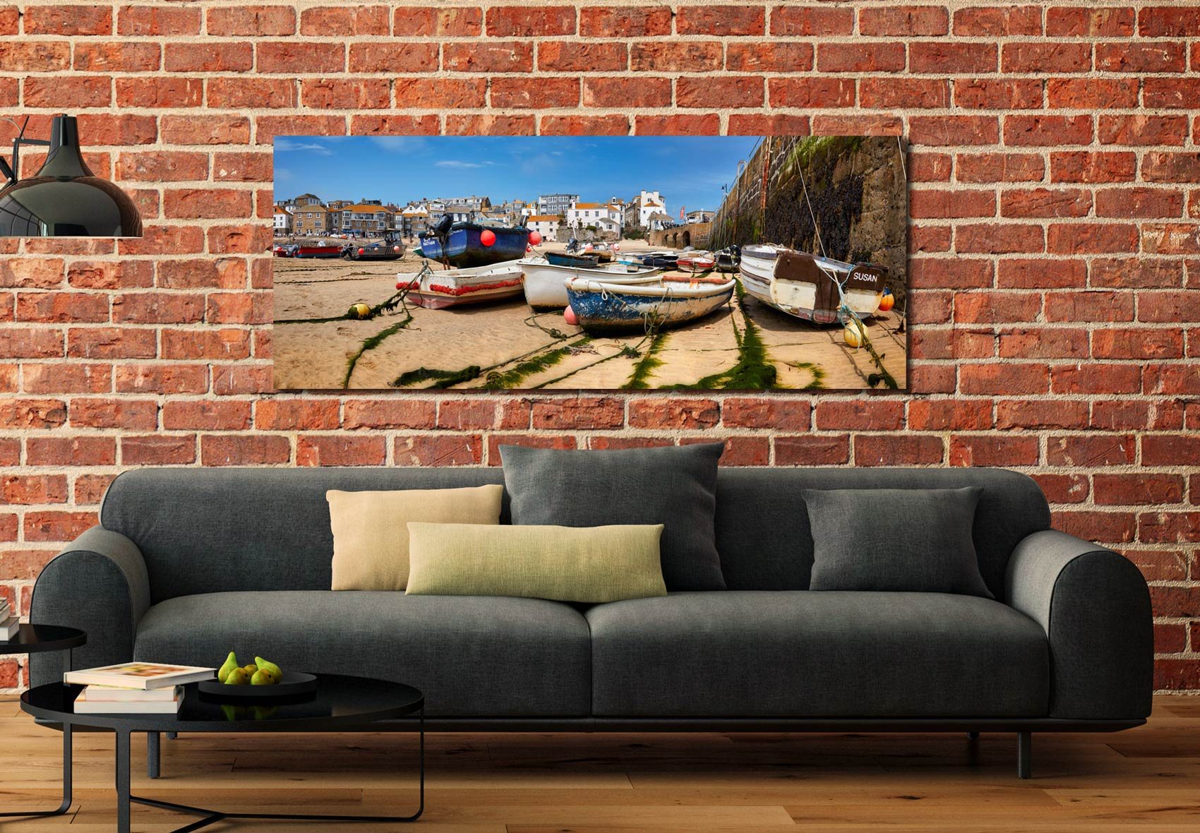 Boats on the sands of St Ives harbour - Print Aluminium Backing With Acrylic Glazing on Wall