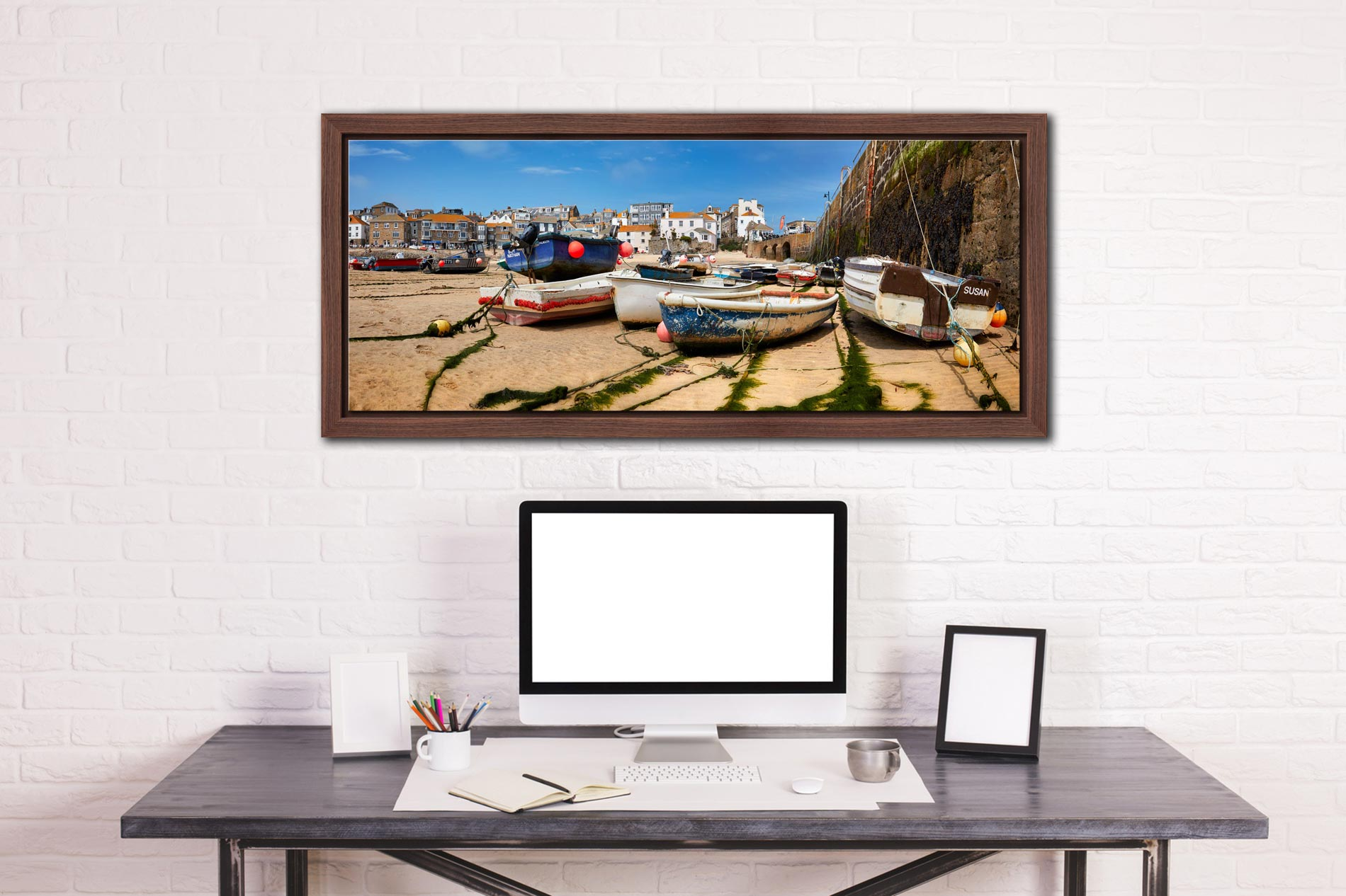 Boats on the sands of St Ives harbour - Walnut floater frame with acrylic glazing on Wall