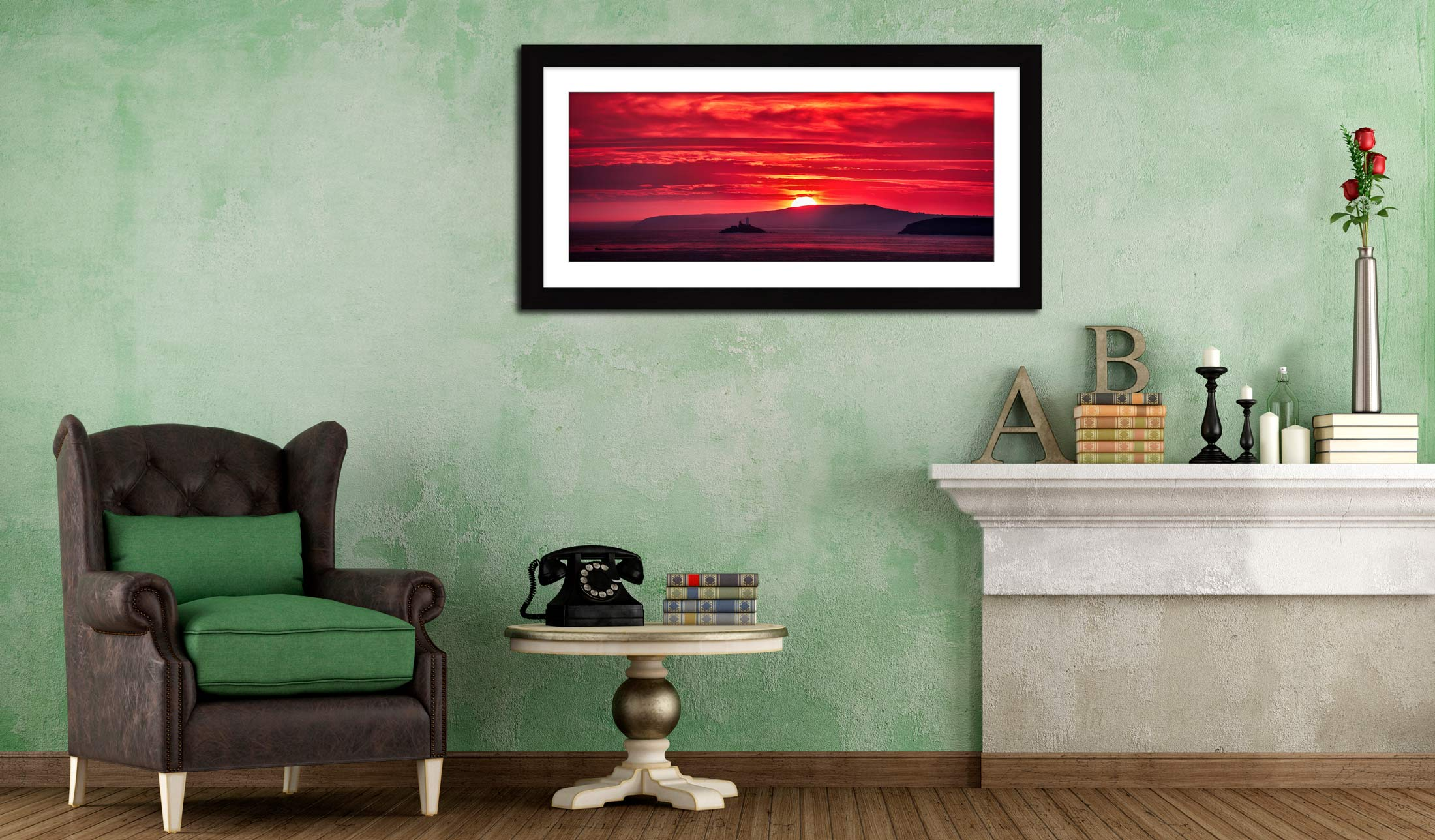 Red Sky in the Morning - Framed Print with Mount on Wall