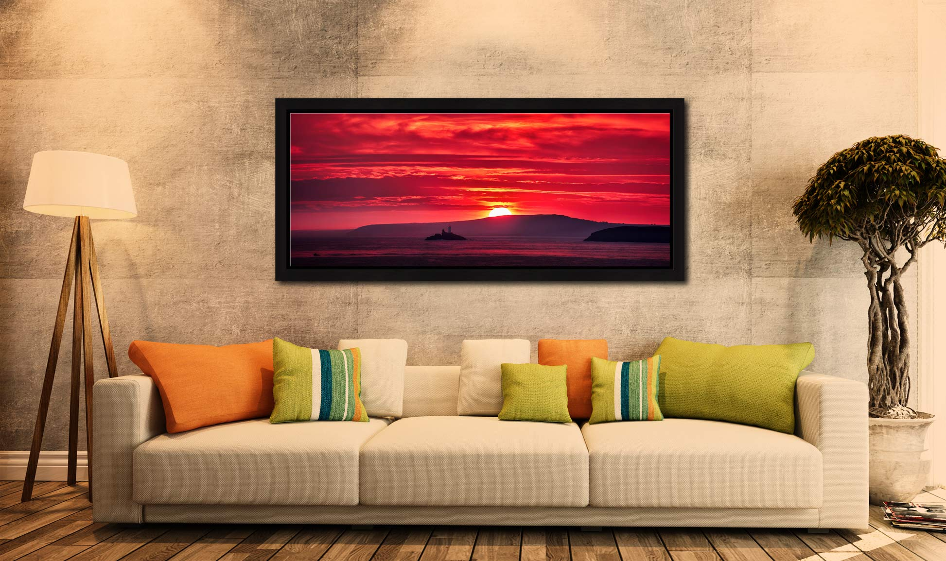 Red Sky in the morning over Godrevy Lighthouse - Black oak floater frame with acrylic glazing on Wall