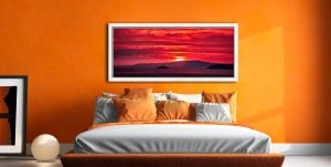 Red Sky in the morning over Godrevy Lighthouse - White Maple floater frame with acrylic glazing on Wall