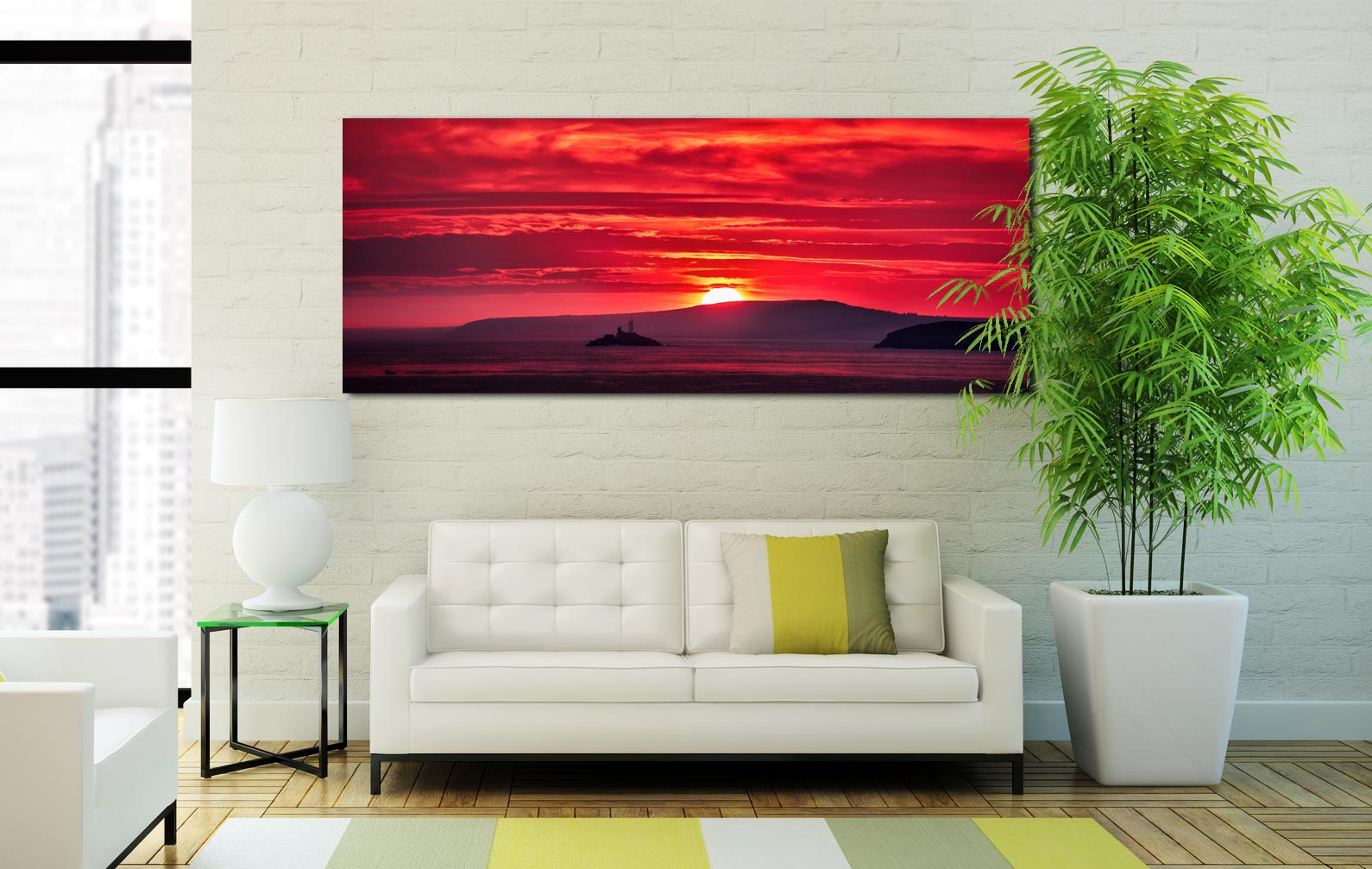 Red Sky in the morning over Godrevy Lighthouse - Print Aluminium Backing With Acrylic Glazing on Wall