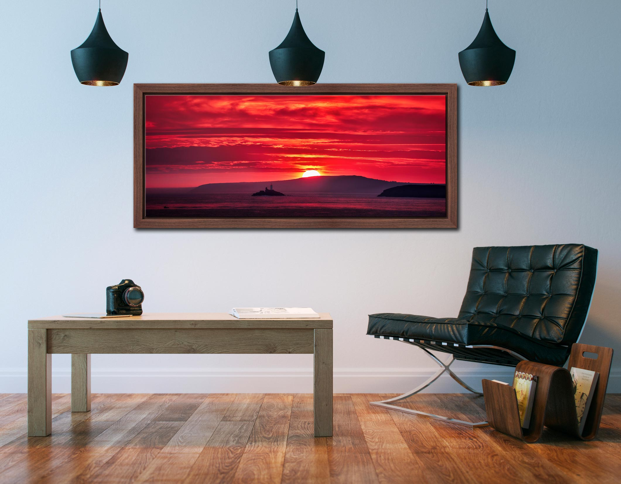 Red Sky in the morning over Godrevy Lighthouse - Walnut floater frame with acrylic glazing on Wall