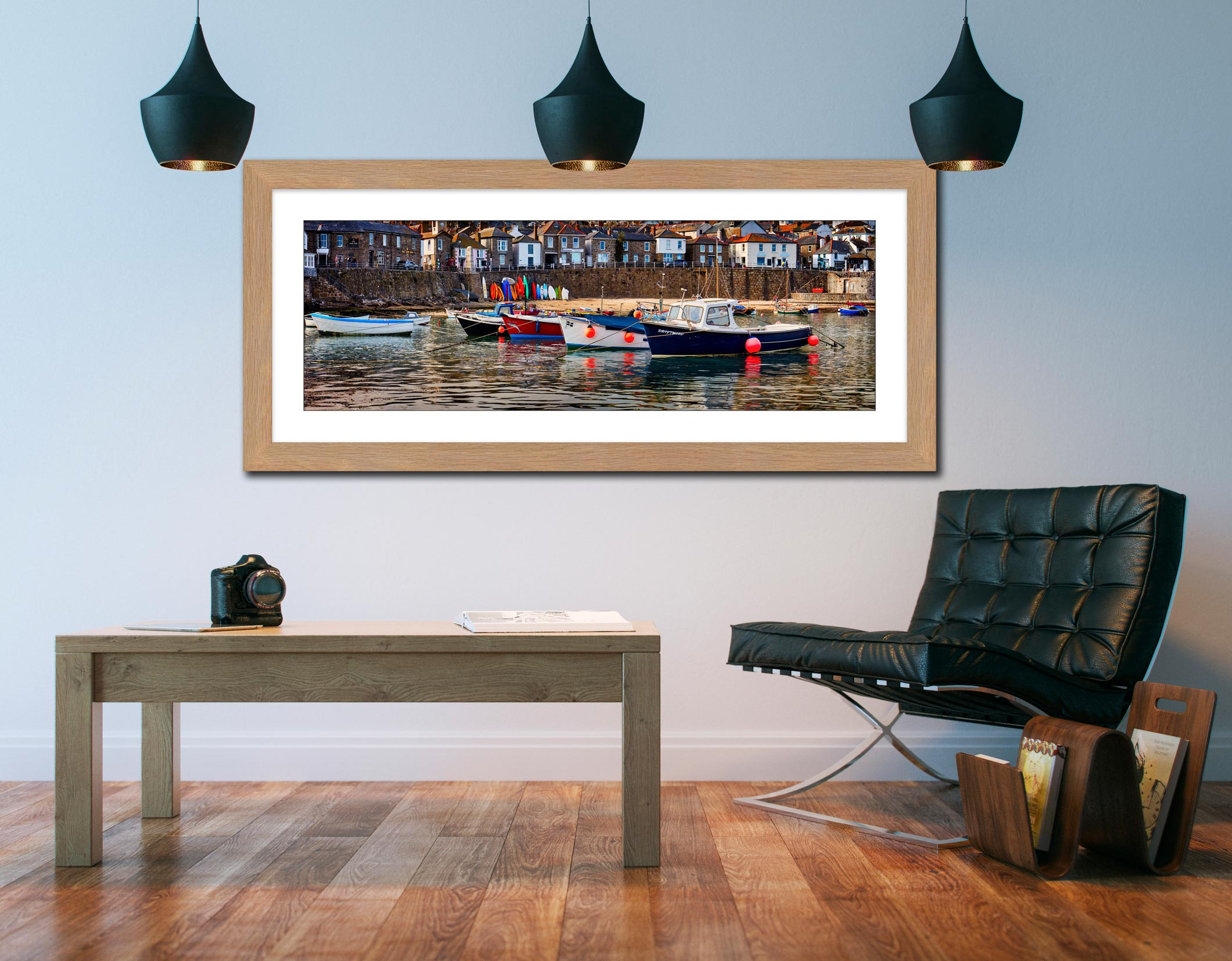 Mousehole Harbour Boats - Framed Print with Mount on Wall