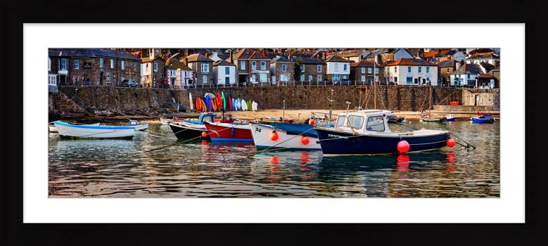 Mousehole Harbour Boats - Framed Print with Mount