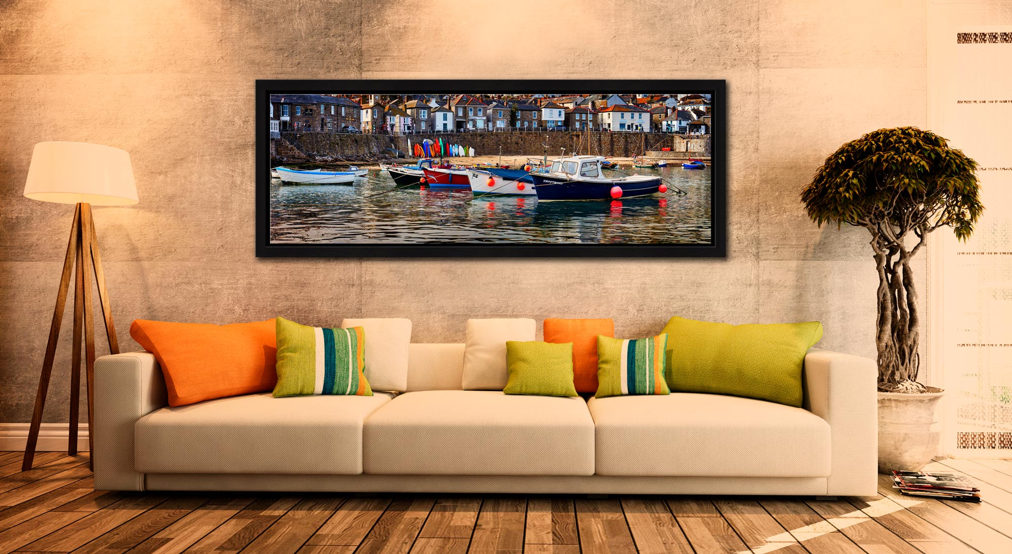 Colourful boats in the harbour at Mousehole in Cornwall - Black oak floater frame with acrylic glazing on Wall