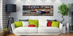 Colourful boats in the harbour at Mousehole in Cornwall - Print Aluminium Backing With Acrylic Glazing on Wall