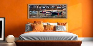 Colourful boats in the harbour at Mousehole in Cornwall - Oak floater frame with acrylic glazing on Wall