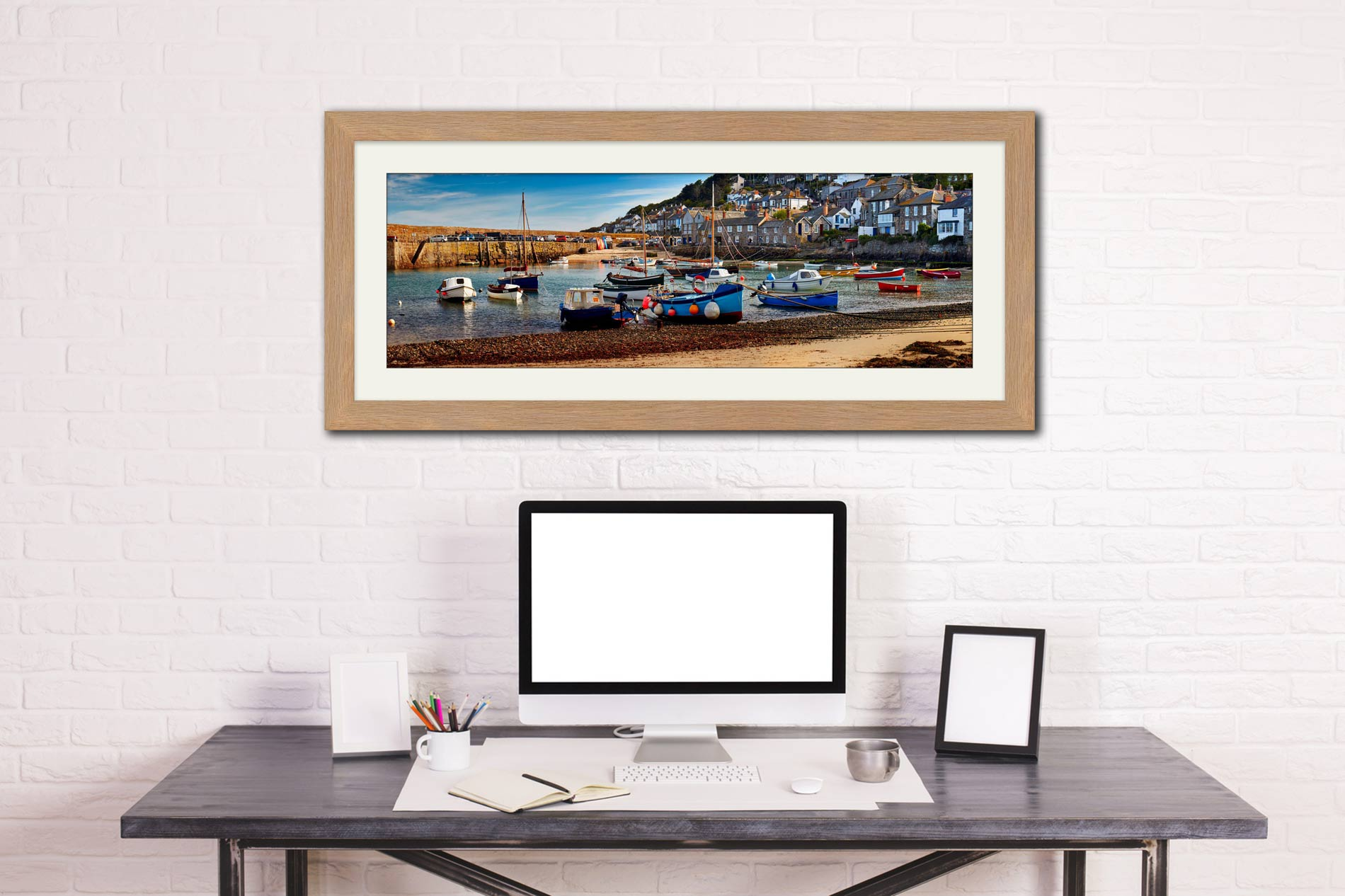 Mousehole Harbour Morning - Framed Print with Mount on Wall