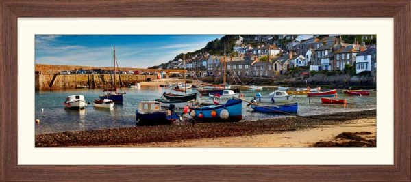 Mousehole Harbour Morning - Framed Print with Mount
