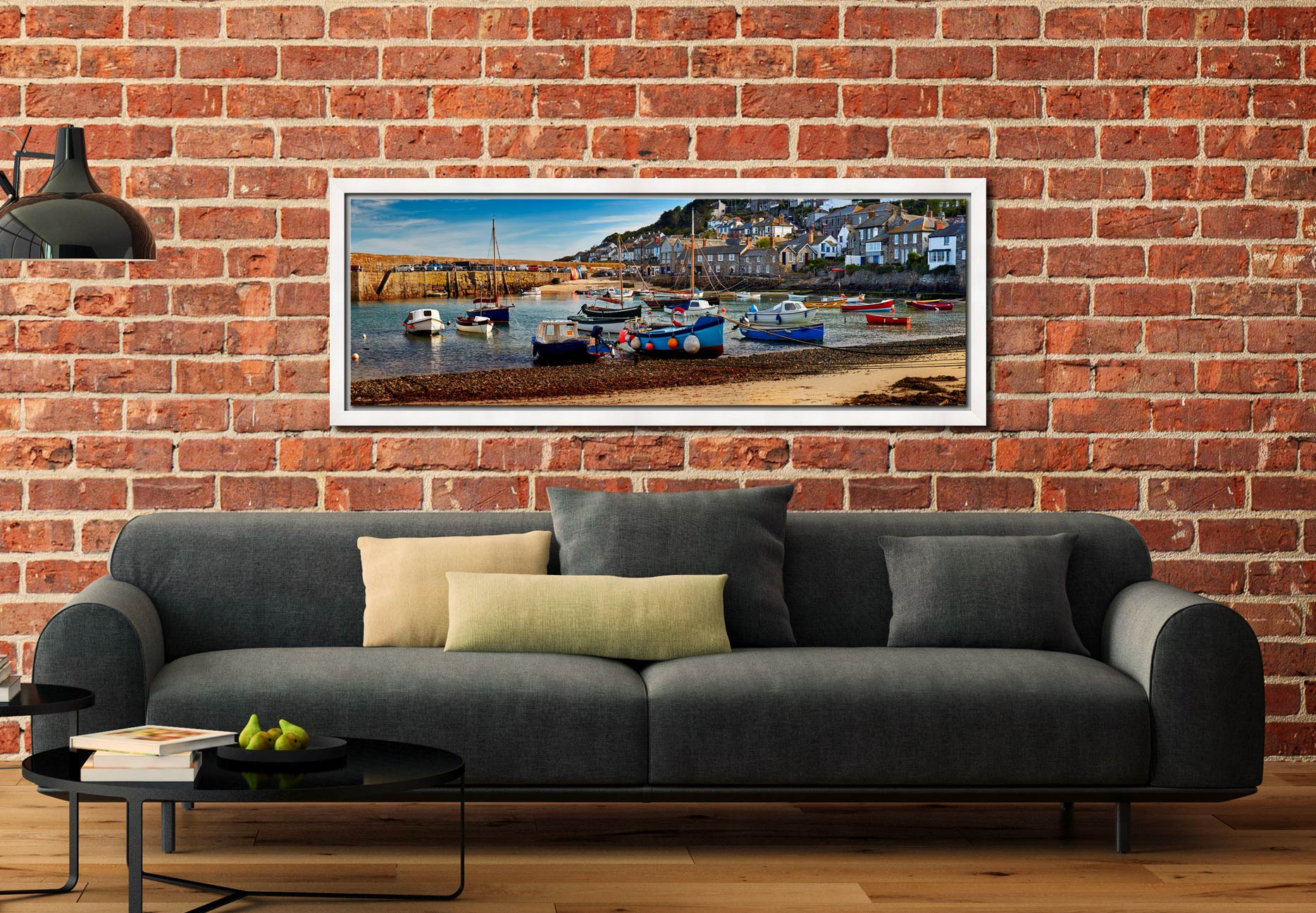 Morning sunlight warming the boats in Mousehole harbour - White Maple floater frame with acrylic glazing on Wall