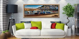 Morning sunlight warming the boats in Mousehole harbour - Oak floater frame with acrylic glazing on Wall