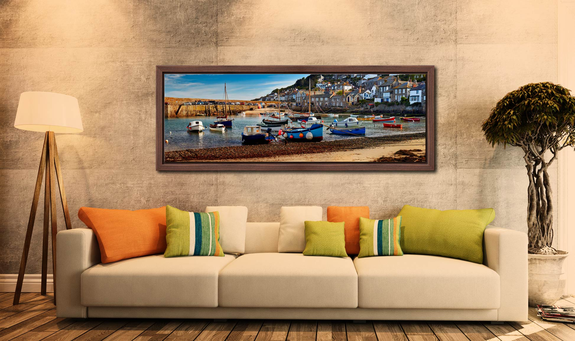 Morning sunlight warming the boats in Mousehole harbour - Walnut floater frame with acrylic glazing on Wall