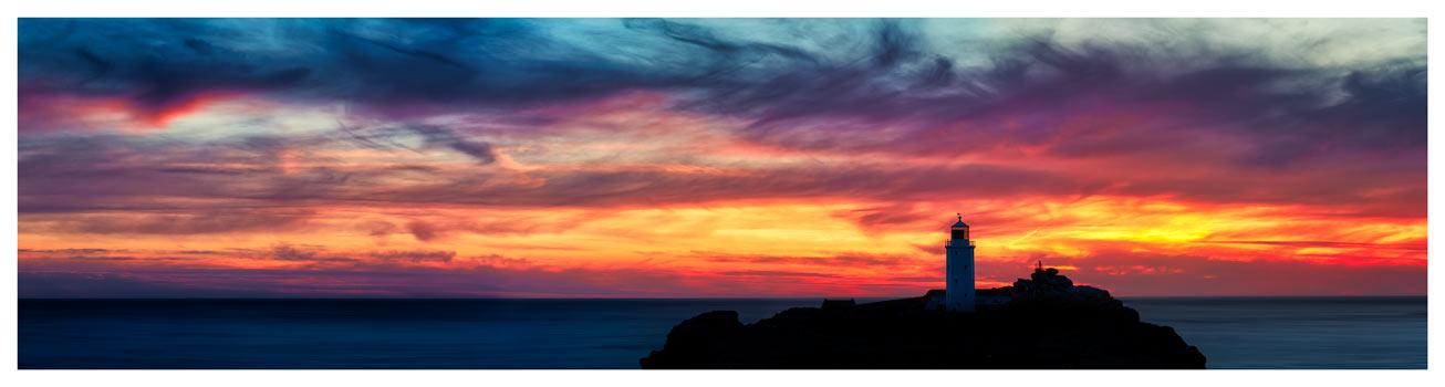 Dusk Skies Over Godrevy Lighthouse - Cornwall Print