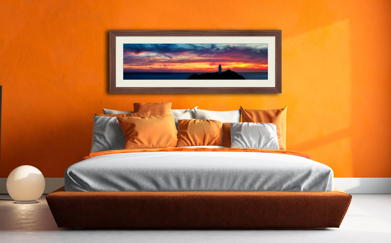 Dusk Skies Over Godrevy Lighthouse - Framed Print with Mount on Wall