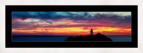 Dusk Skies Over Godrevy Lighthouse - Framed Print with Mount