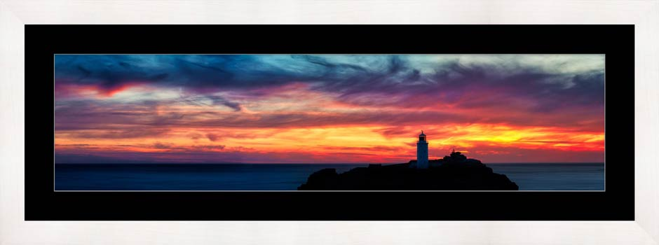 Dusk Skies Over Godrevy Lighthouse - Framed Print with Mount