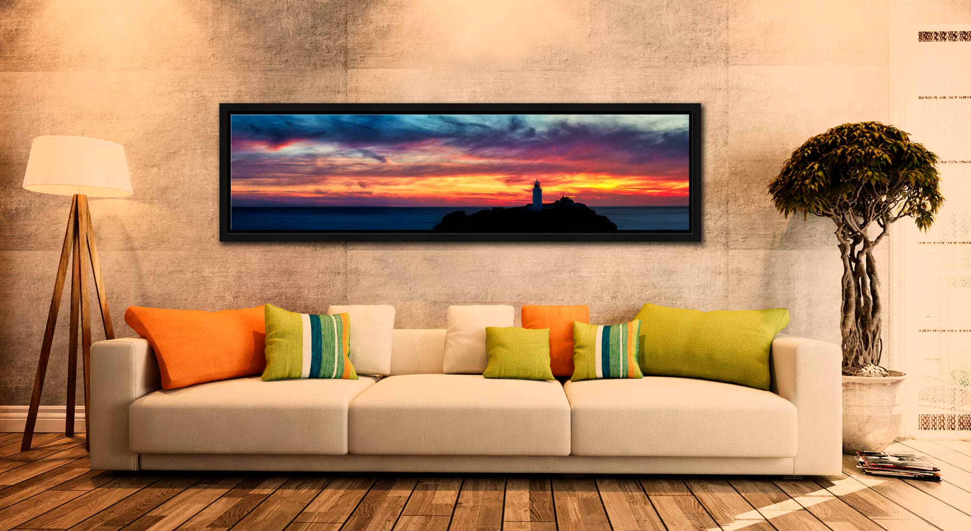 Dusk Skies Over Godrevy Lighthouse - Black oak floater frame with acrylic glazing on Wall