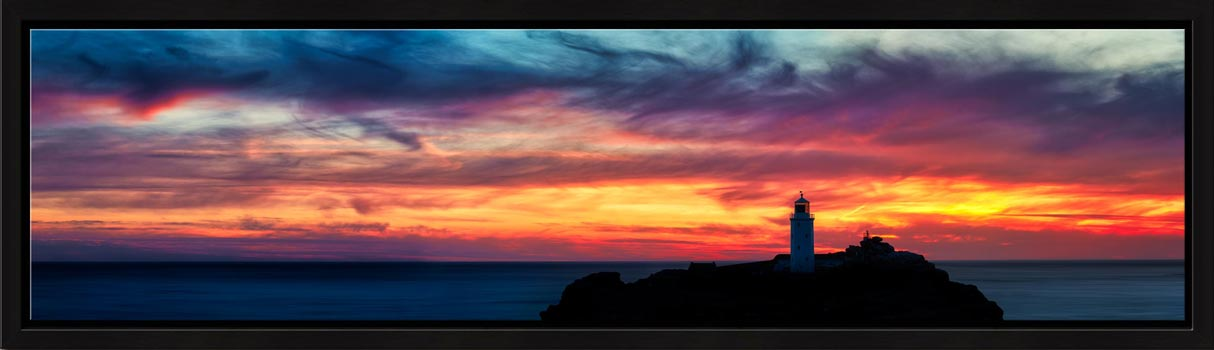 Dusk Skies Over Godrevy Lighthouse - Modern Print
