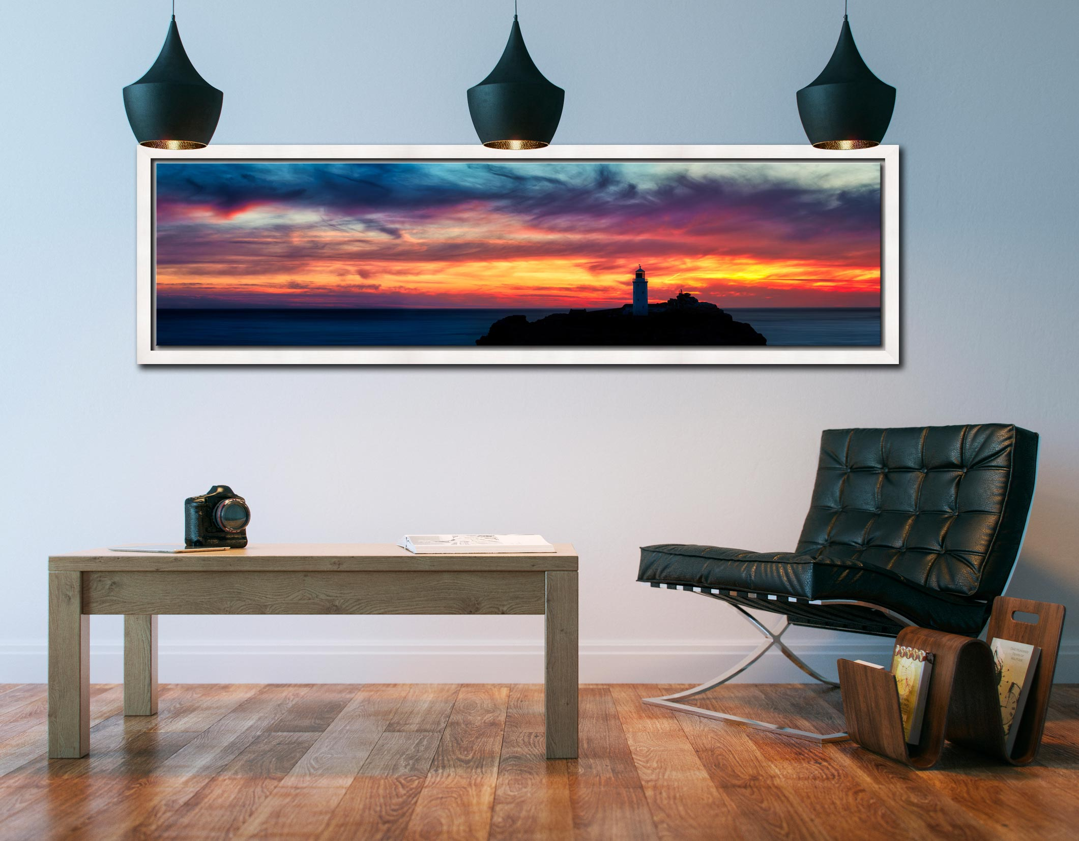 Dusk Skies Over Godrevy Lighthouse - White Maple floater frame with acrylic glazing on Wall