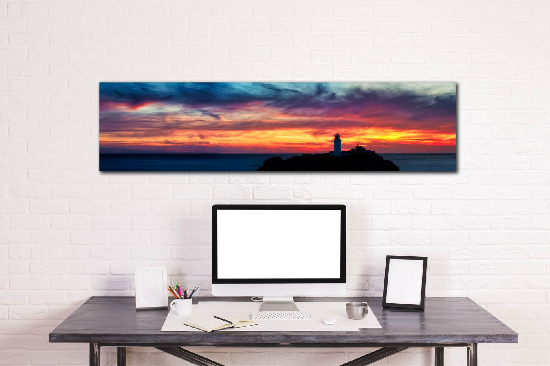 Dusk Skies Over Godrevy Lighthouse - Print Aluminium Backing With Acrylic Glazing on Wall