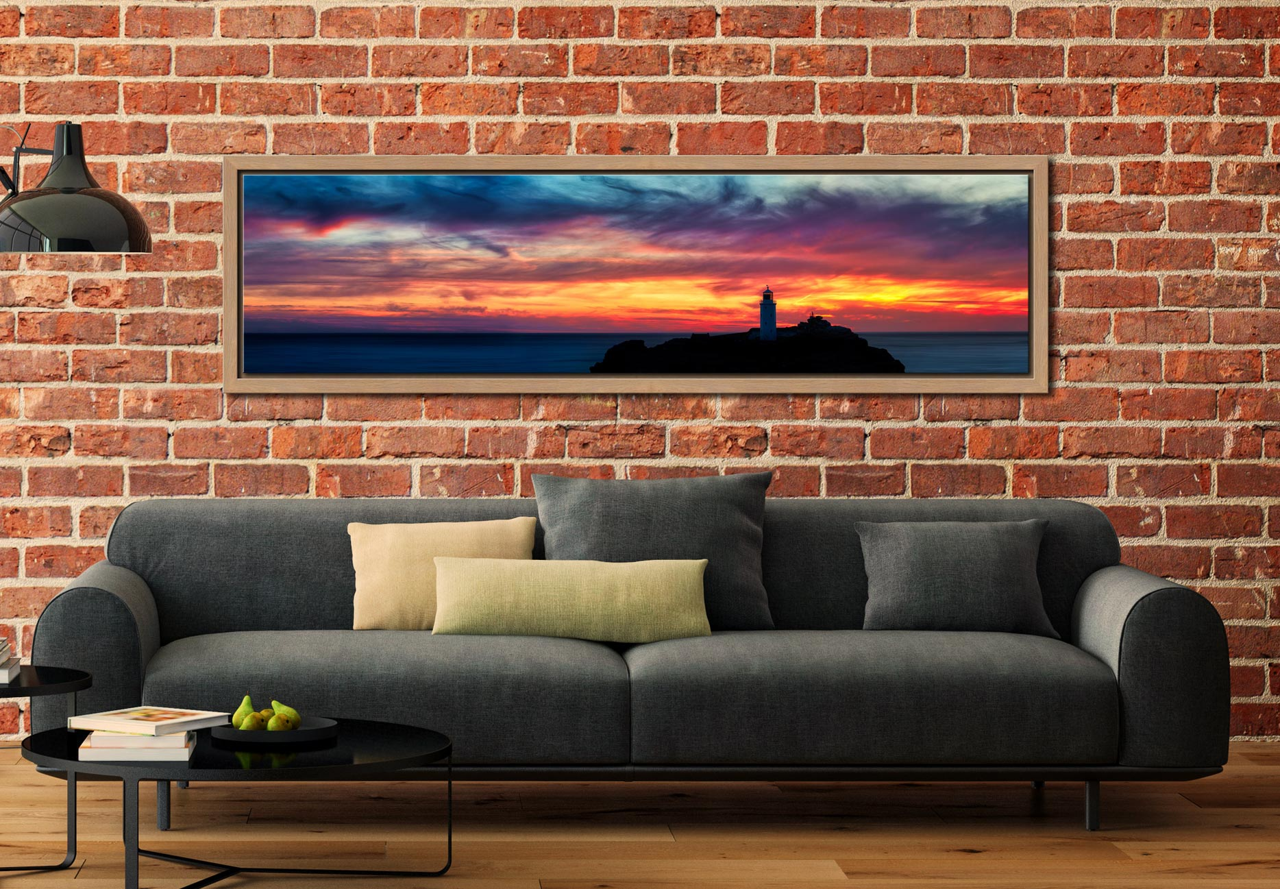 Dusk Skies Over Godrevy Lighthouse - Oak floater frame with acrylic glazing on Wall