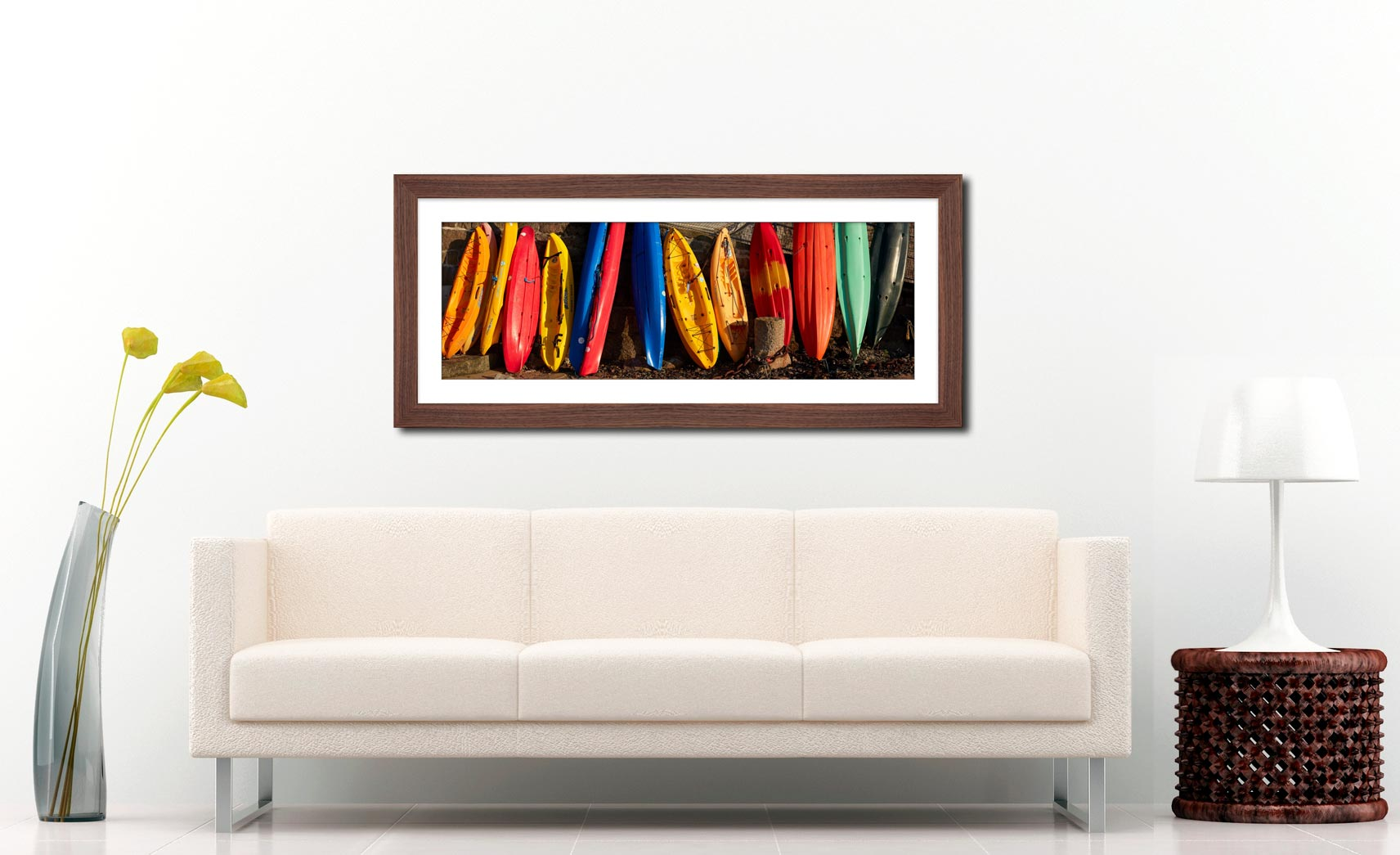 Colourful Kayaks at Mousehole - Framed Print with Mount on Wall