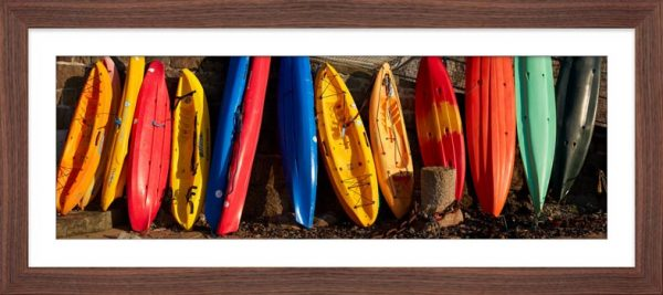 Colourful Kayaks at Mousehole - Framed Print with Mount