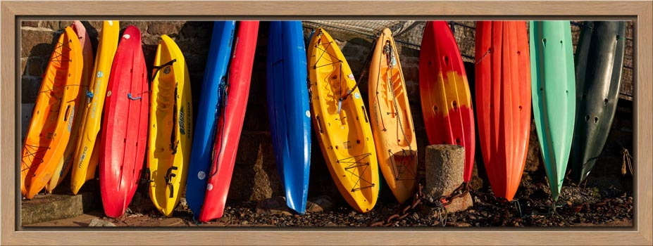Colourful Kayaks at Mousehole - Modern Print