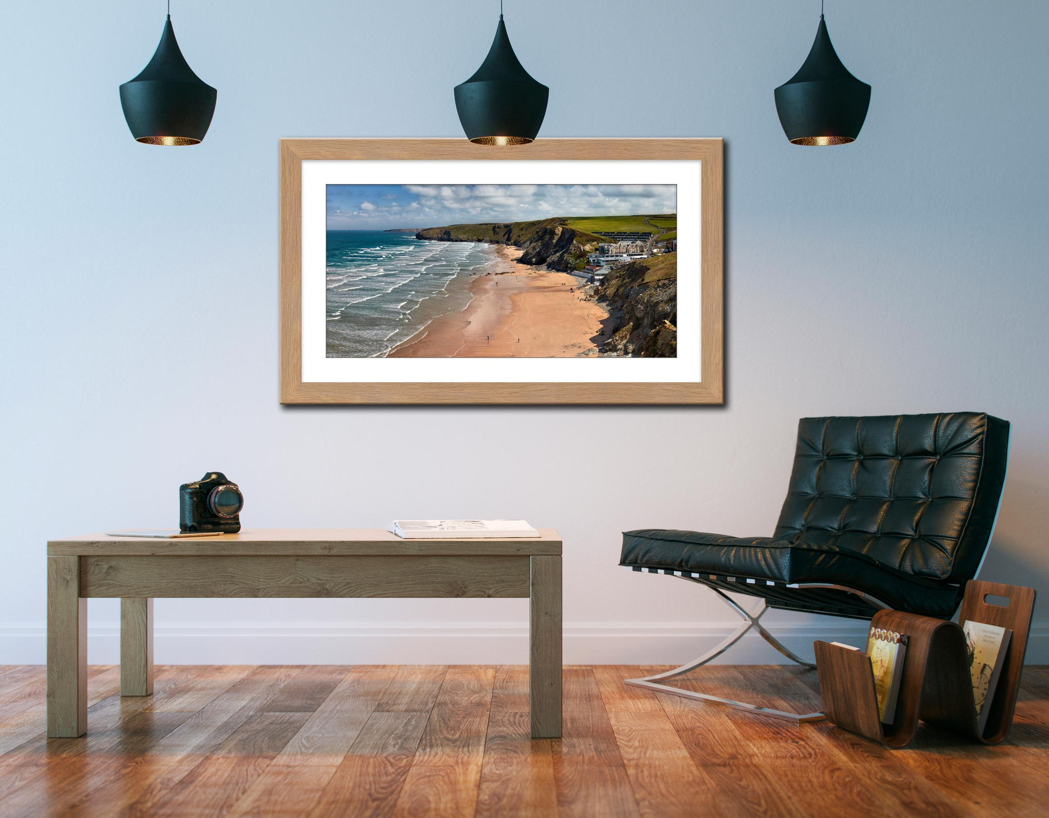 Watergate Bay Beach - Framed Print with Mount on Wall