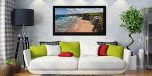 Watergate Bay Beach - Black oak floater frame with acrylic glazing on Wall