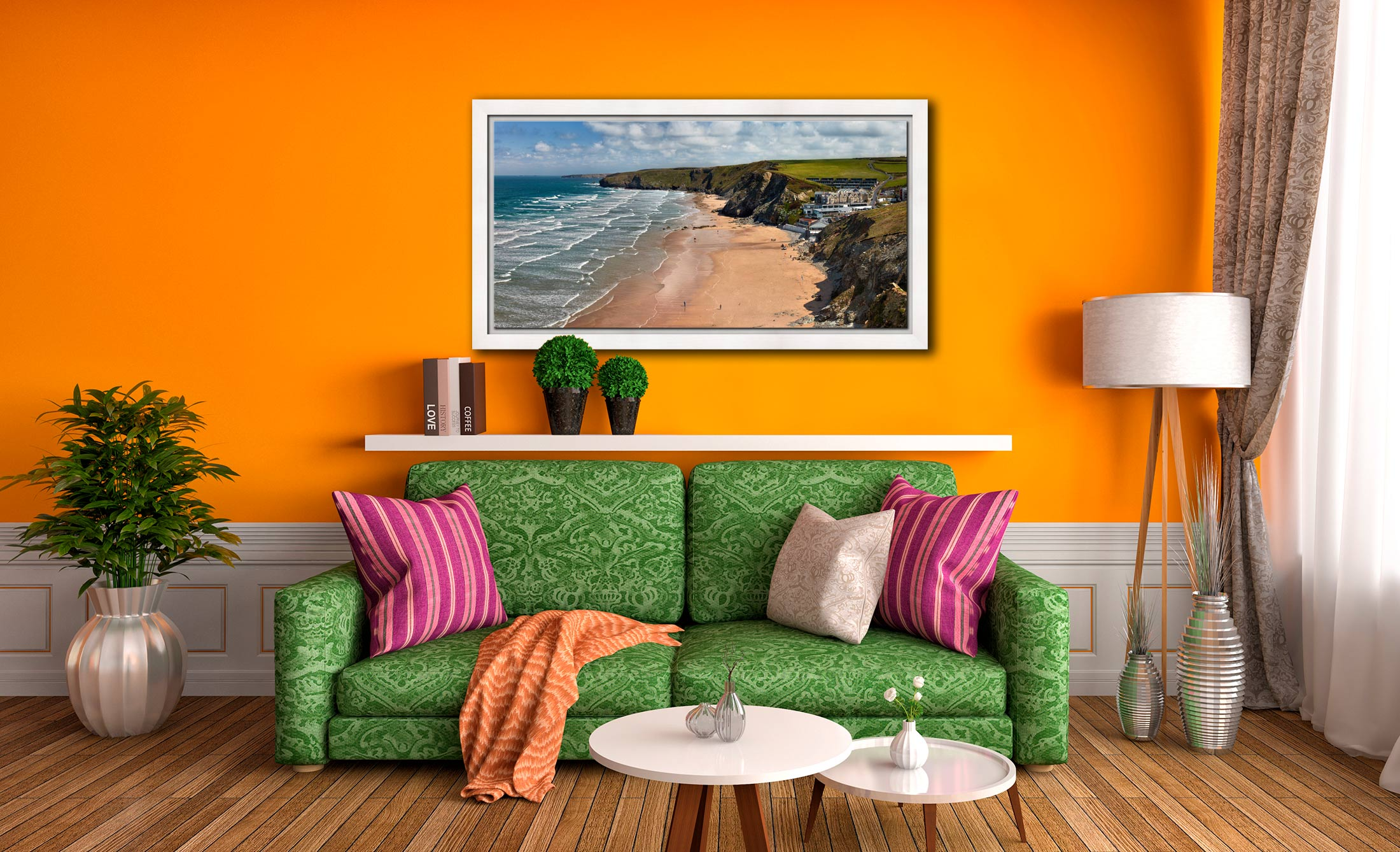 Watergate Bay Beach - White Maple floater frame with acrylic glazing on Wall