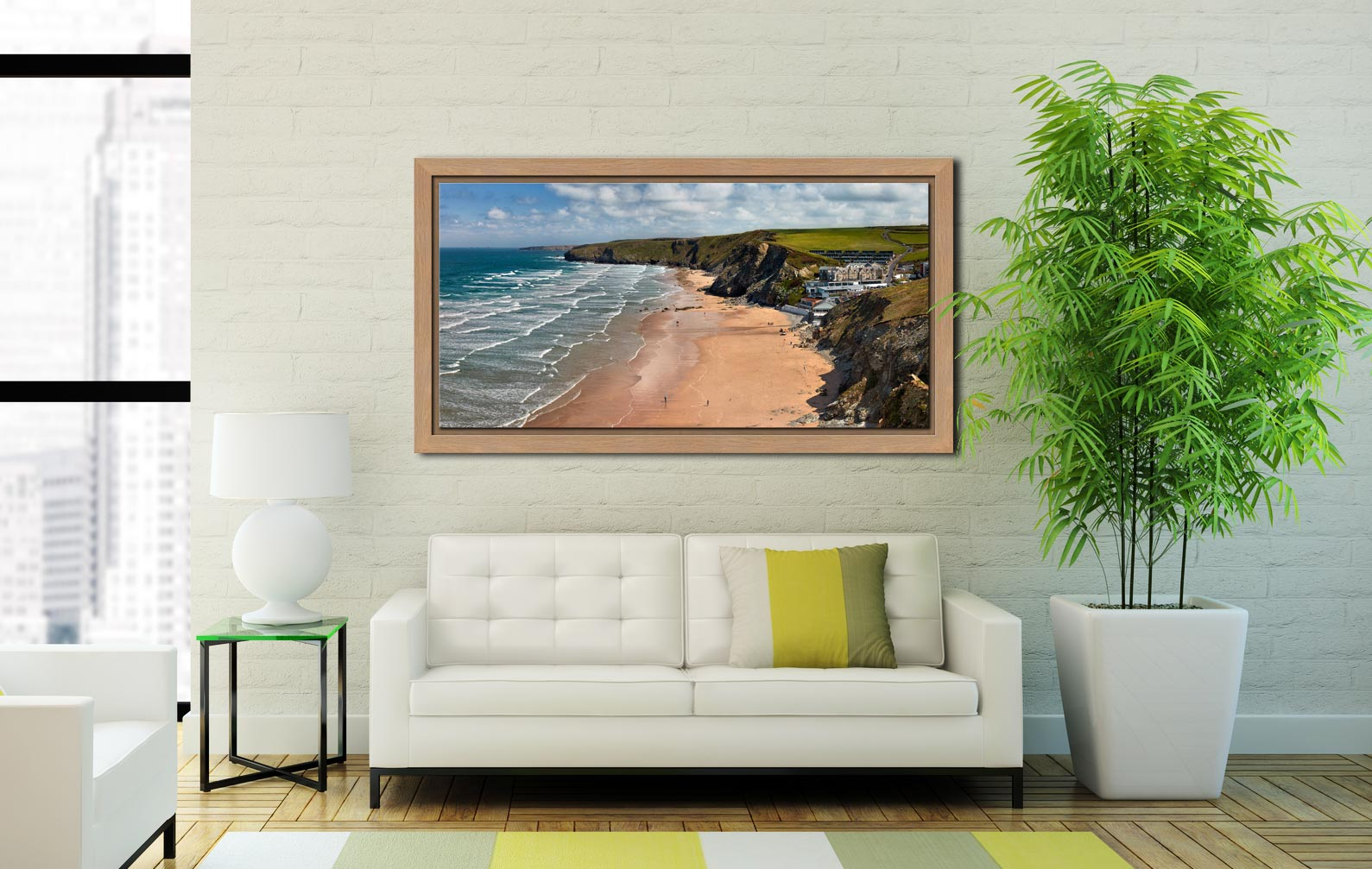 Watergate Bay Beach - Oak floater frame with acrylic glazing on Wall