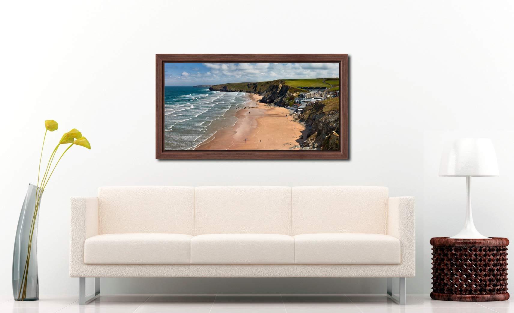 Watergate Bay Beach - Walnut floater frame with acrylic glazing on Wall