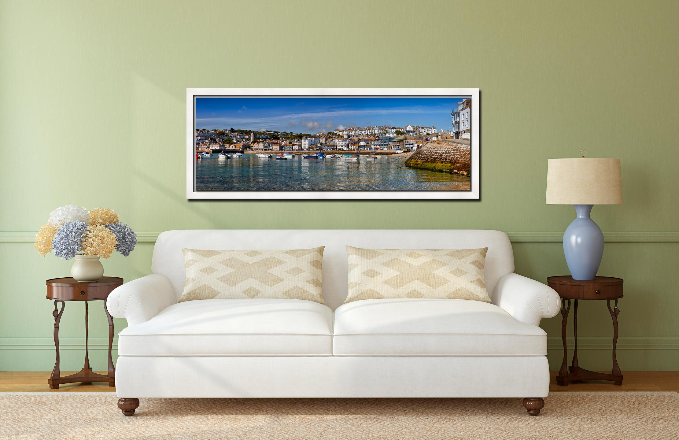 View of St Ives harbour and Wharf Road on clear sunny morning - White Maple floater frame with acrylic glazing on Wall