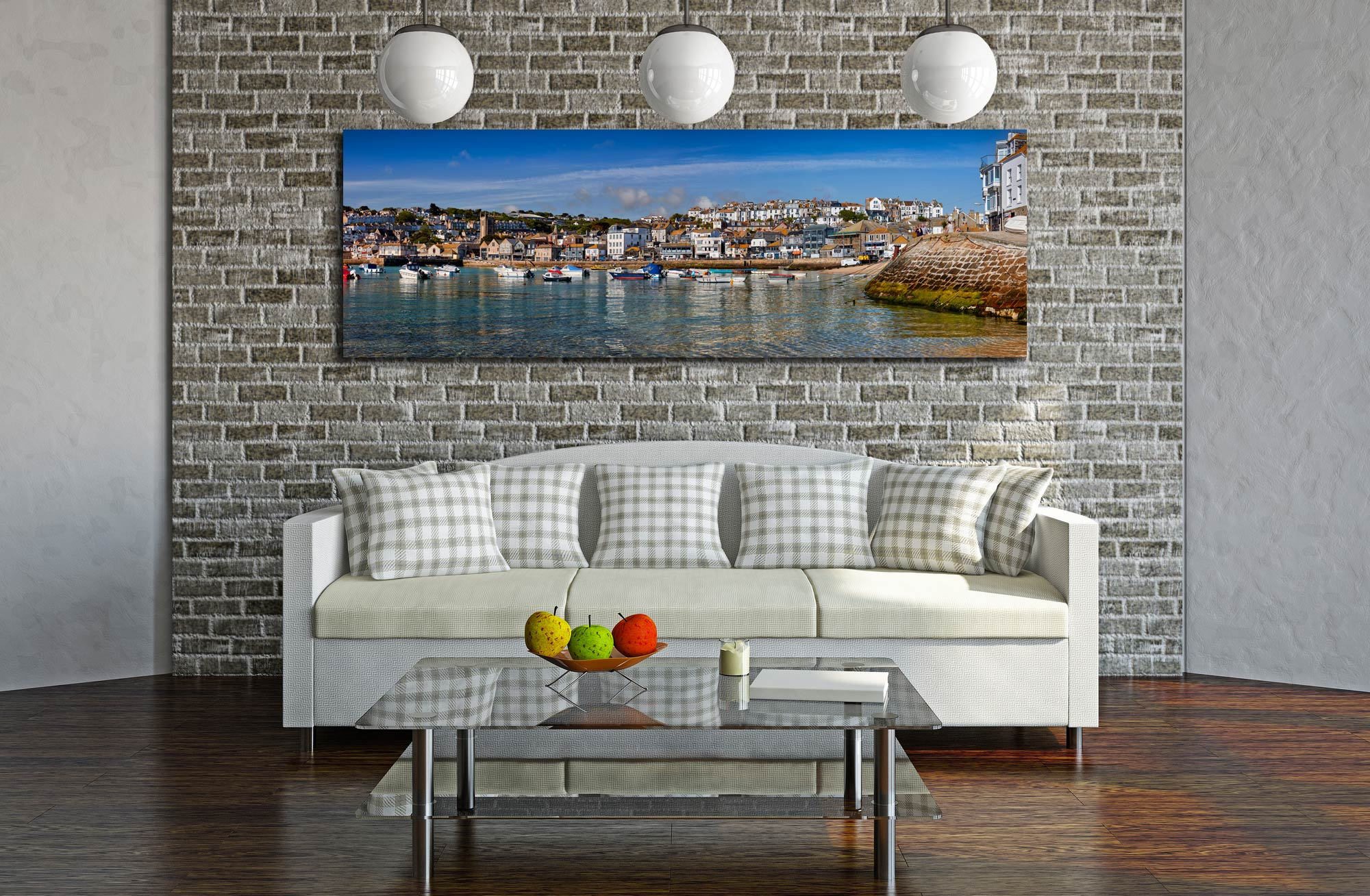 View of St Ives harbour and Wharf Road on clear sunny morning - Print Aluminium Backing With Acrylic Glazing on Wall