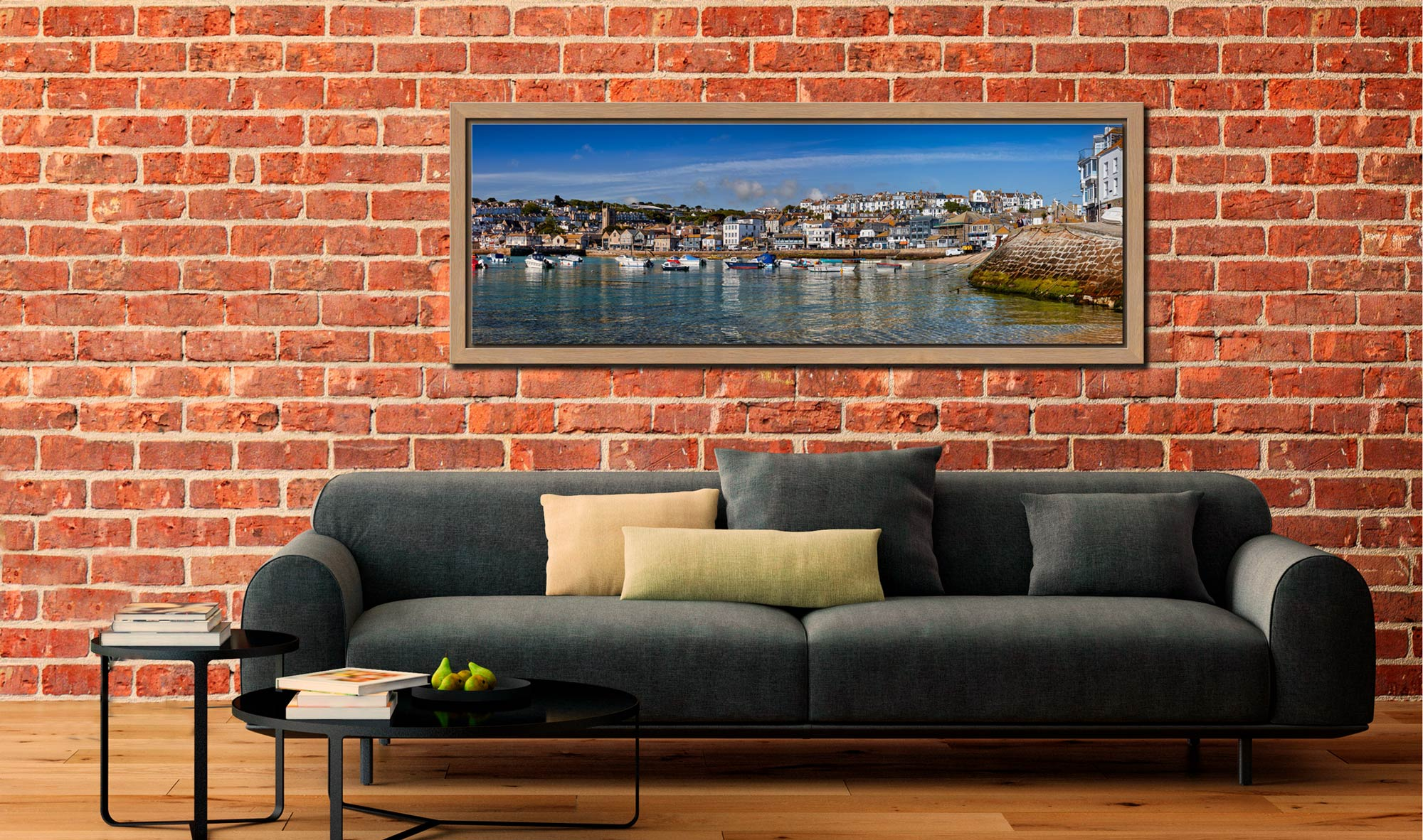 View of St Ives harbour and Wharf Road on clear sunny morning - Oak floater frame with acrylic glazing on Wall