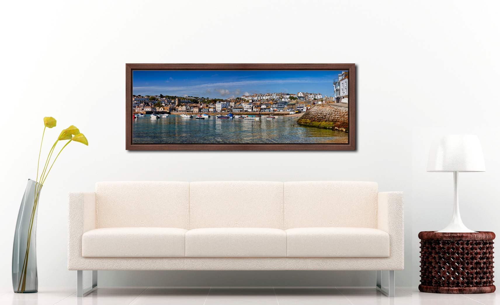 View of St Ives harbour and Wharf Road on clear sunny morning - Walnut floater frame with acrylic glazing on Wall