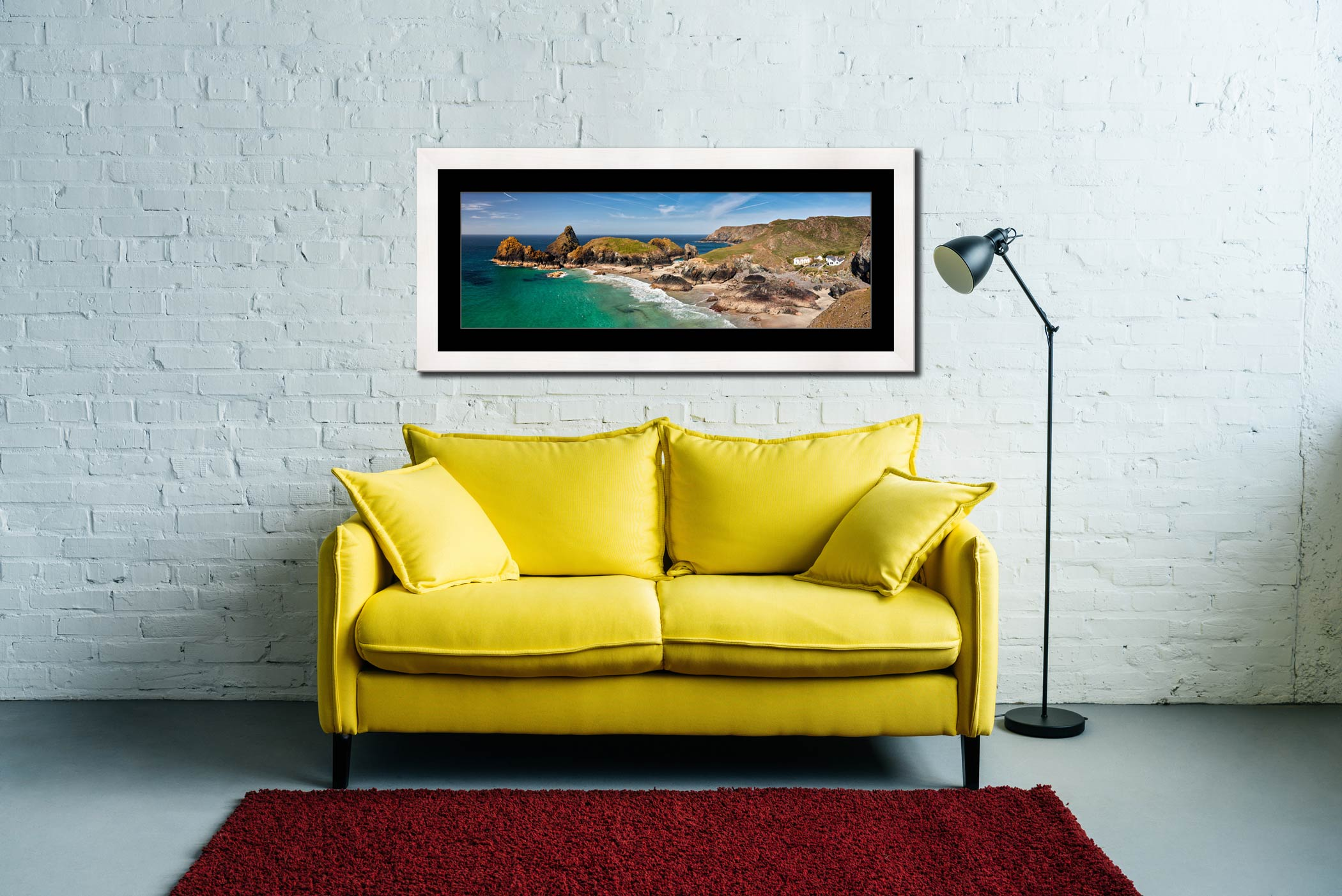 Kynance Cove and Cafe - Framed Print with Mount on Wall