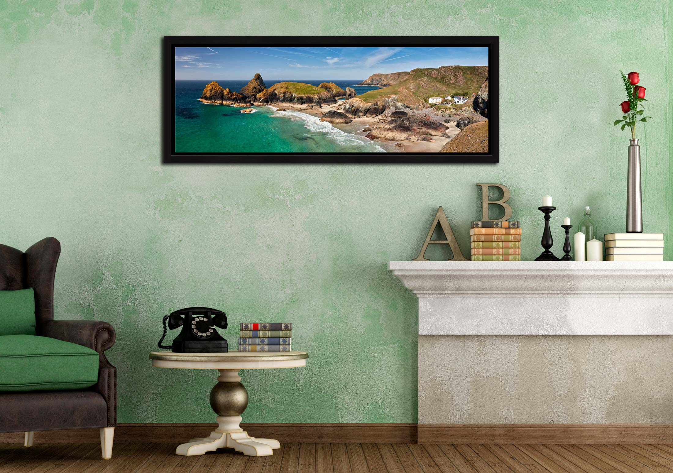 Kynance Cove and cafe on the Lizard on Cornwall - Black oak floater frame with acrylic glazing on Wall