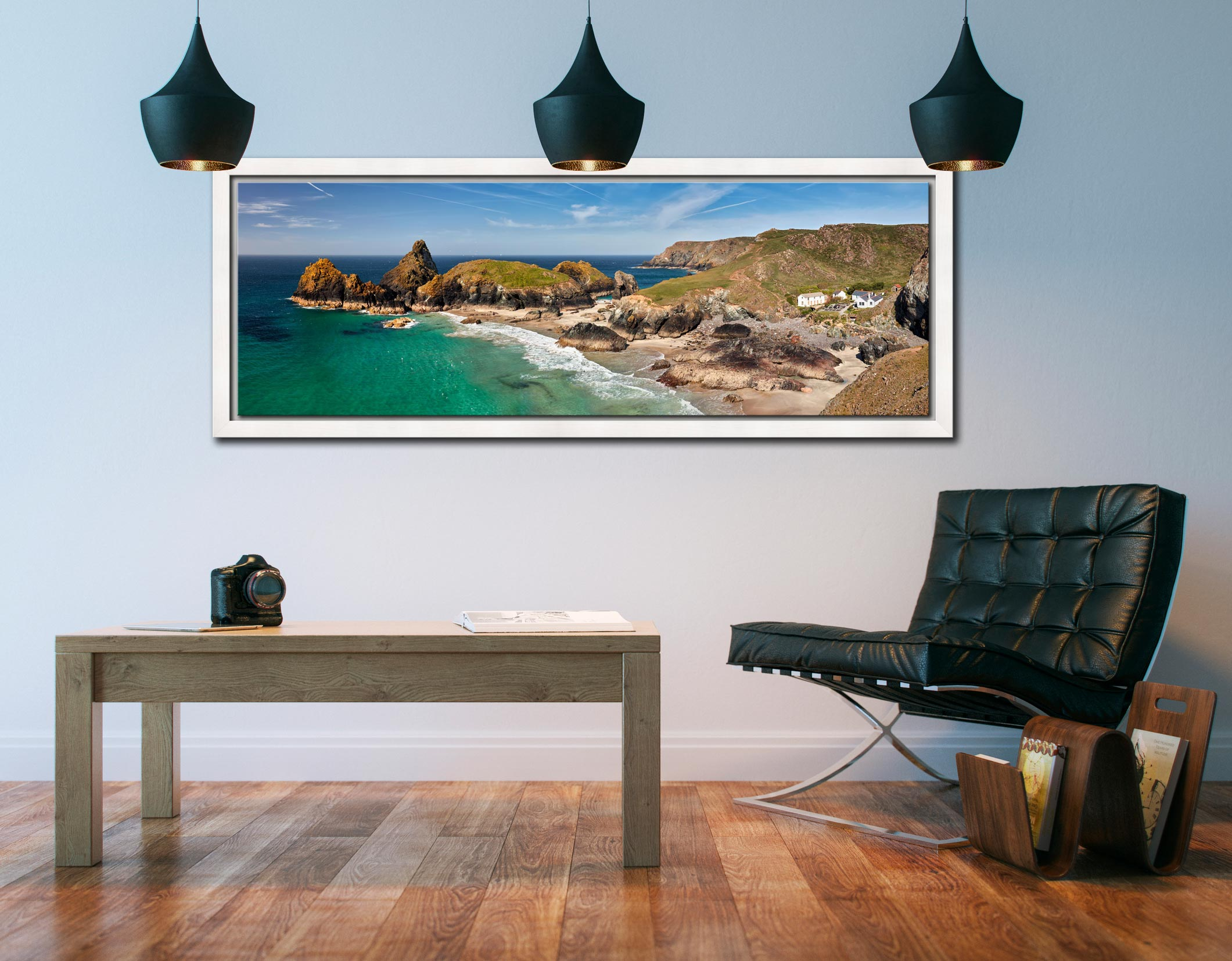 Kynance Cove and cafe on the Lizard on Cornwall - White Maple floater frame with acrylic glazing on Wall