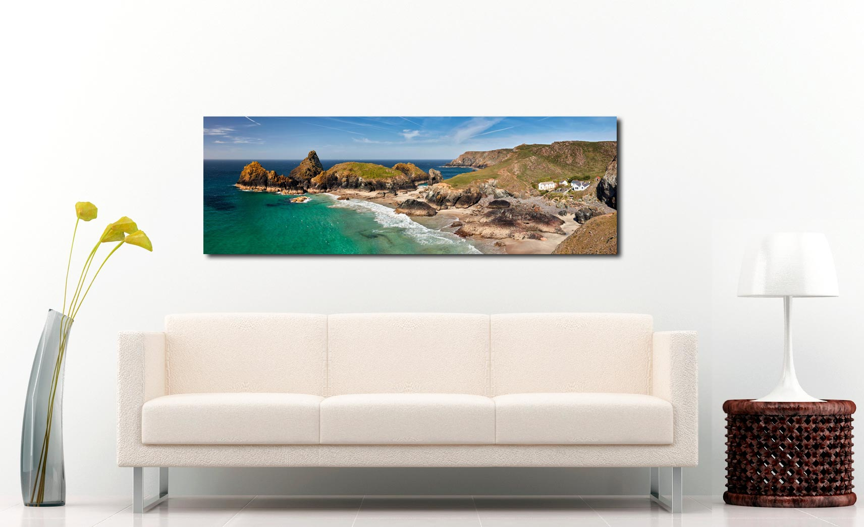 Kynance Cove and cafe on the Lizard on Cornwall - Print Aluminium Backing With Acrylic Glazing on Wall