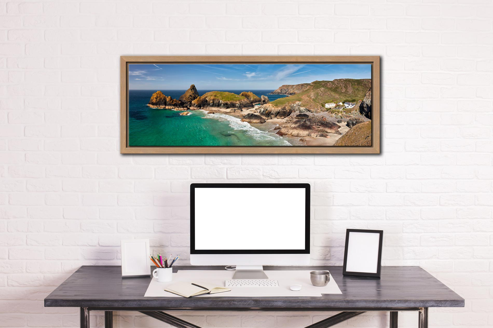 Kynance Cove and cafe on the Lizard on Cornwall - Oak floater frame with acrylic glazing on Wall