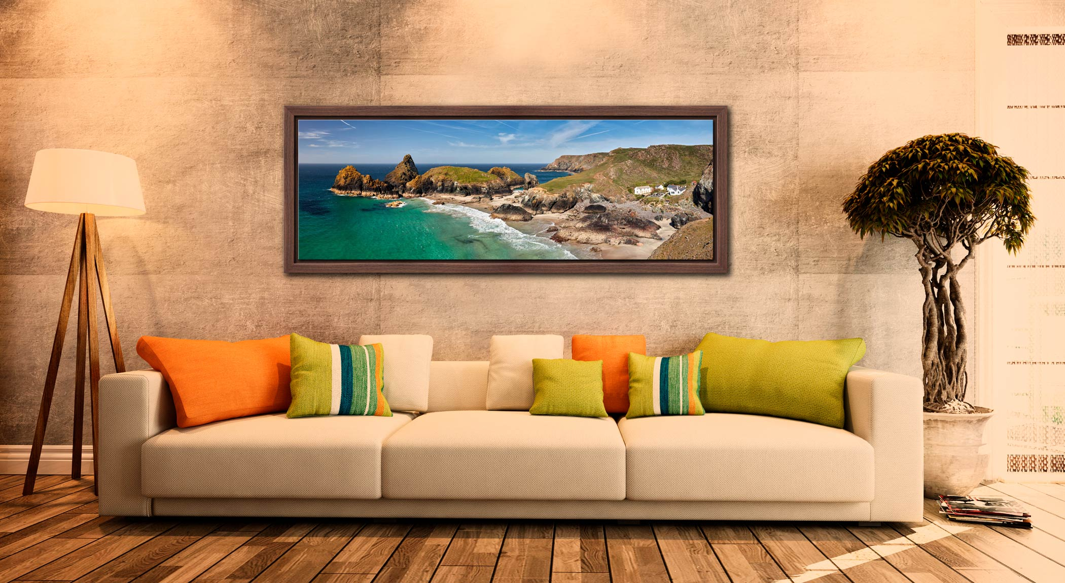 Kynance Cove and cafe on the Lizard on Cornwall - Walnut floater frame with acrylic glazing on Wall