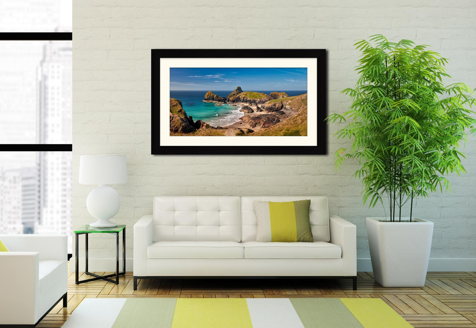 Kynance Cove Tropical Waters - Framed Print with Mount on Wall