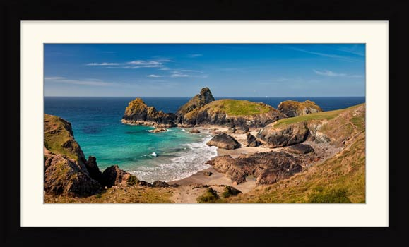 Kynance Cove Tropical Waters - Framed Print with Mount