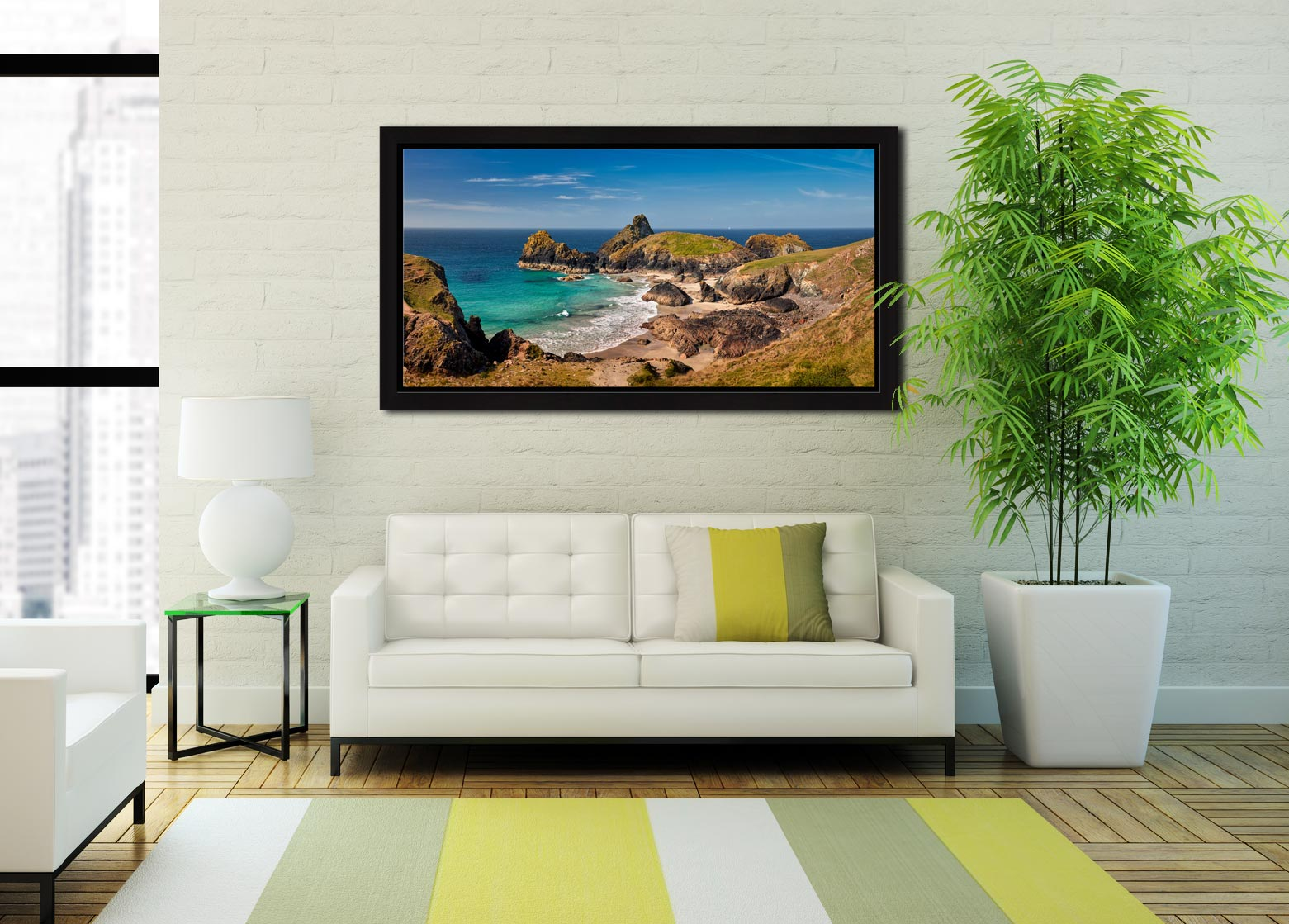 Kynance Cove Tropical Waters - Black oak floater frame with acrylic glazing on Wall