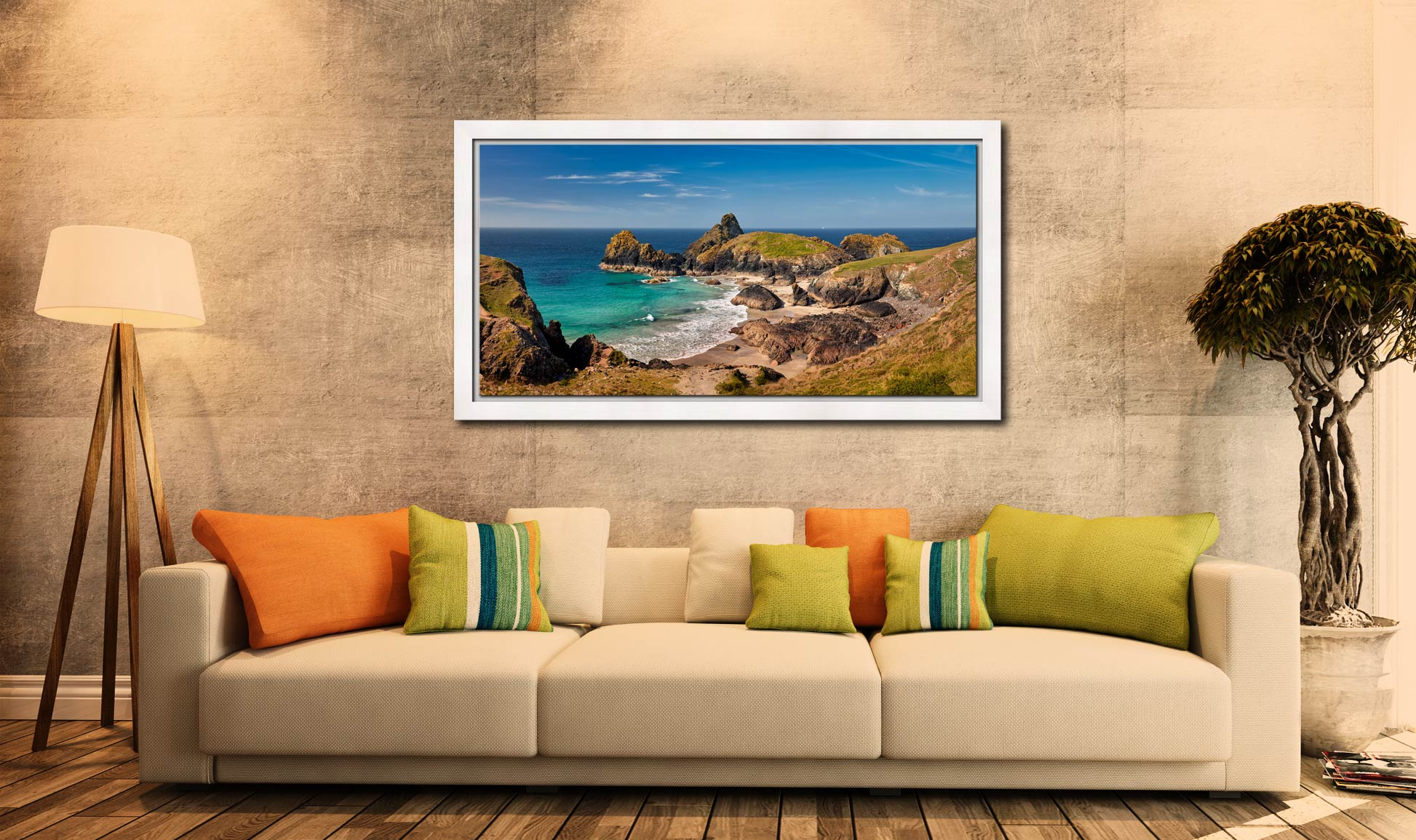 Kynance Cove Tropical Waters - White Maple floater frame with acrylic glazing on Wall