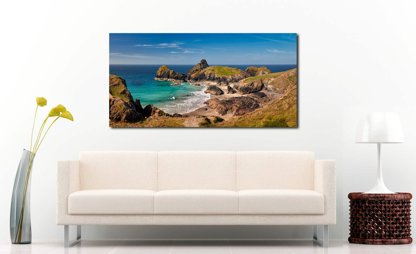 Kynance Cove Tropical Waters - Print Aluminium Backing With Acrylic Glazing on Wall