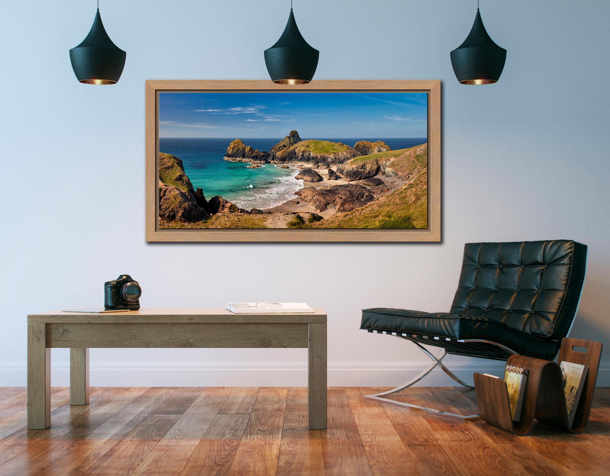 Kynance Cove Tropical Waters - Oak floater frame with acrylic glazing on Wall